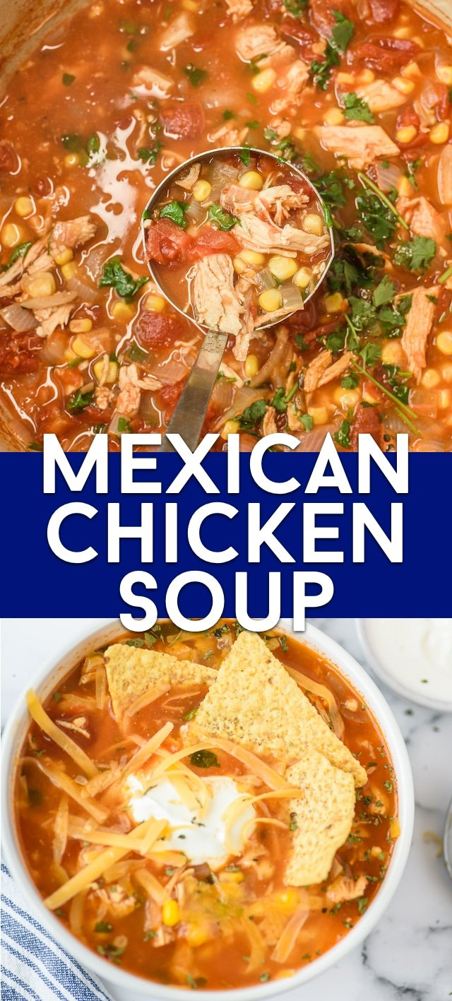 Mexican chicken soup collage