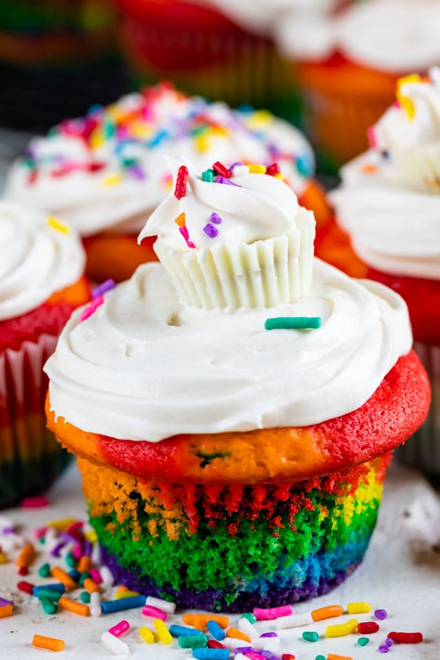Rainbow cupcakes with cupcake topper