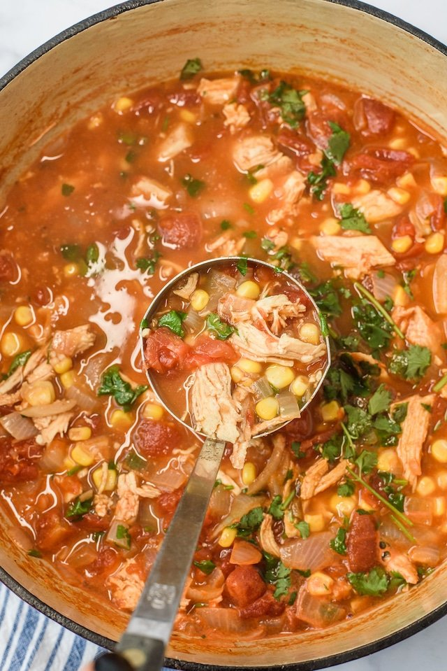Chicken soup with salsa