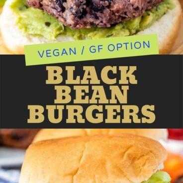 collage of black bean burger photos