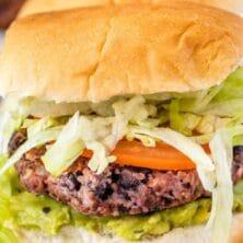 closeup of vegan black bean burger