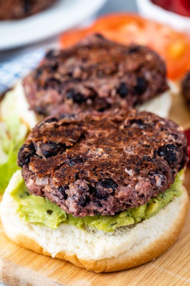 open faced black bean burger