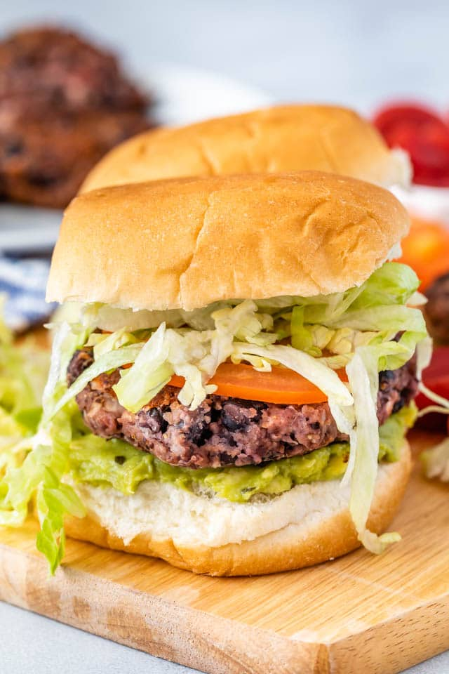 black bean burger with bun, lettuce and tomato