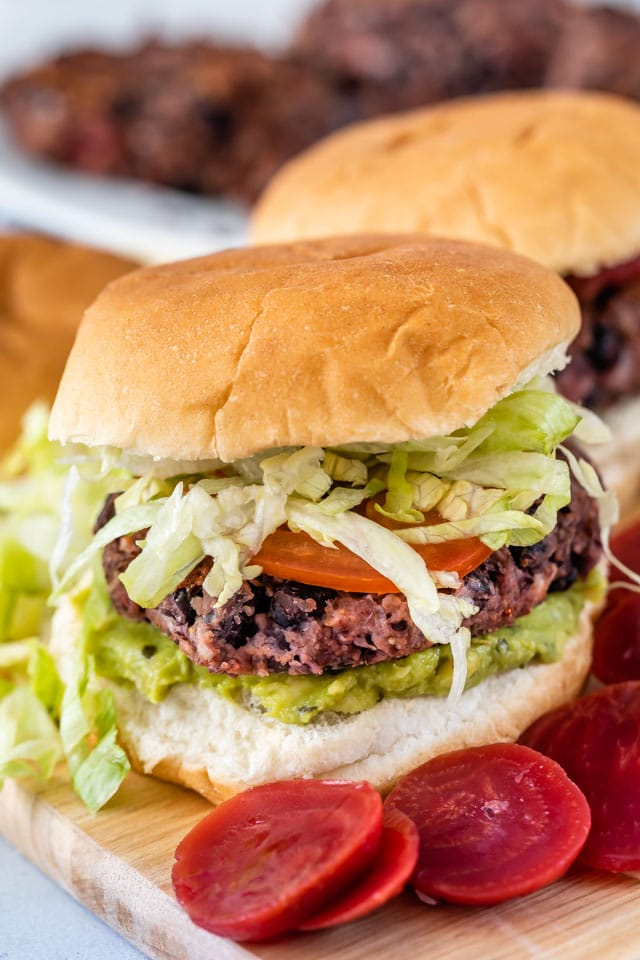 black bean burger with beets