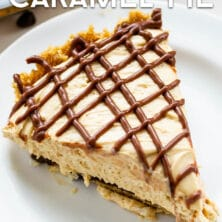 Dulce de leche pie slice on white plate