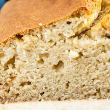 close up of sliced loaf of no yeast bread