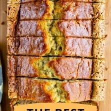 best banana bread recipe overhead photo