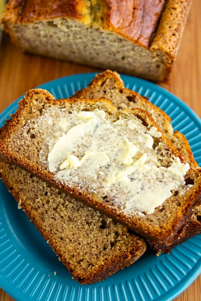 sliced banana bread with butter