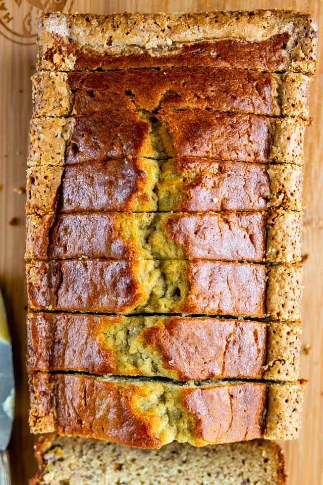 sliced banana bread overhead shot