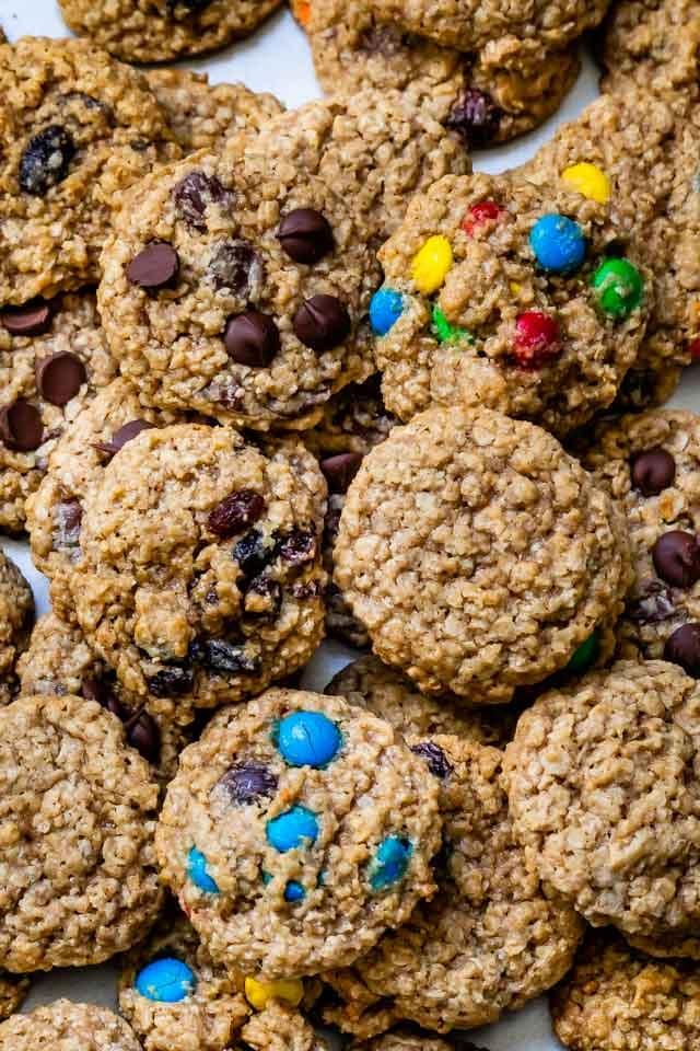 overhead shot of oatmeal cookies