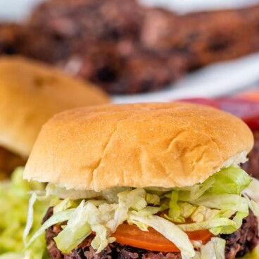 black bean burger with lettuce and tomato