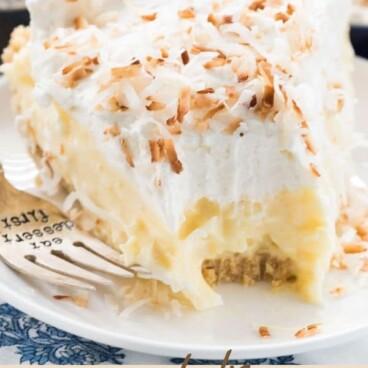 Golden oreo crust coconut cream pie