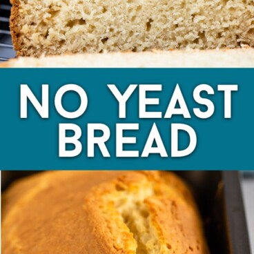 collage of no yeast white bread photos