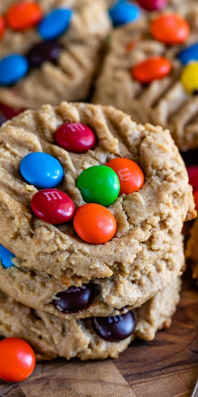 Peanut butter cookies with M&Ms