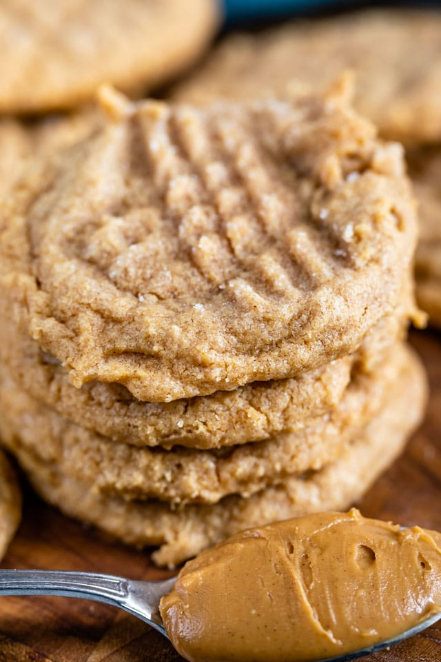 stack of 3 ingredient peanut butter cookies