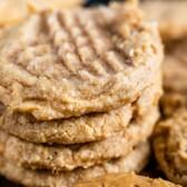 stack of 3 ingredient peanut butter cookies