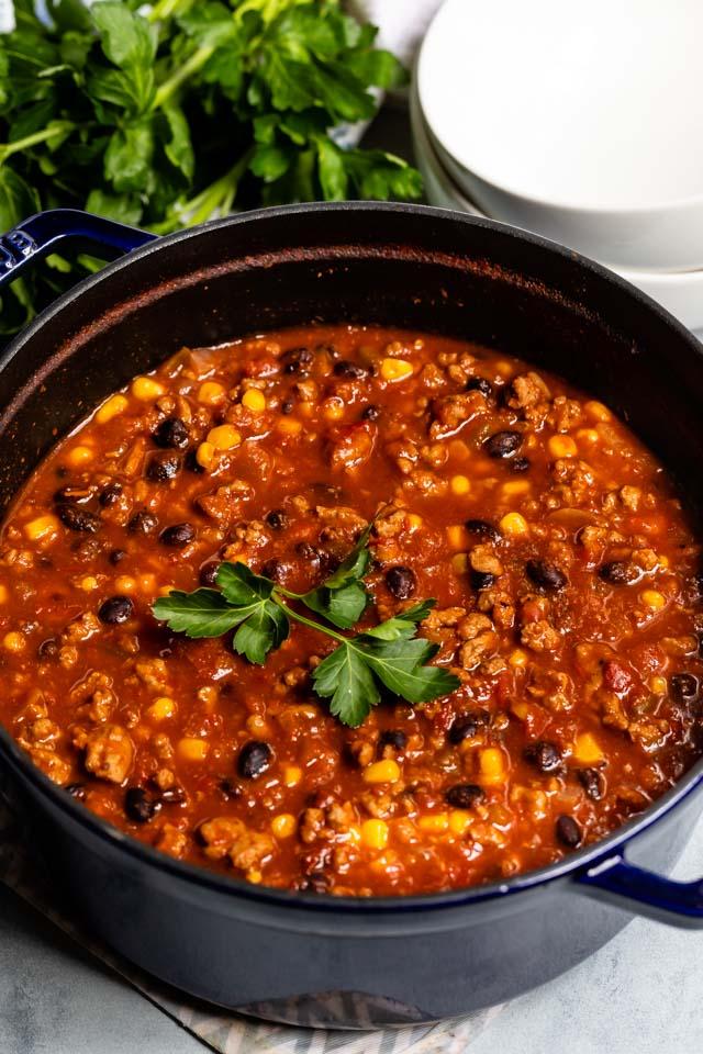 Turkey chili in pot