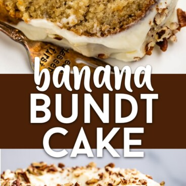 Banana bundt cake collage