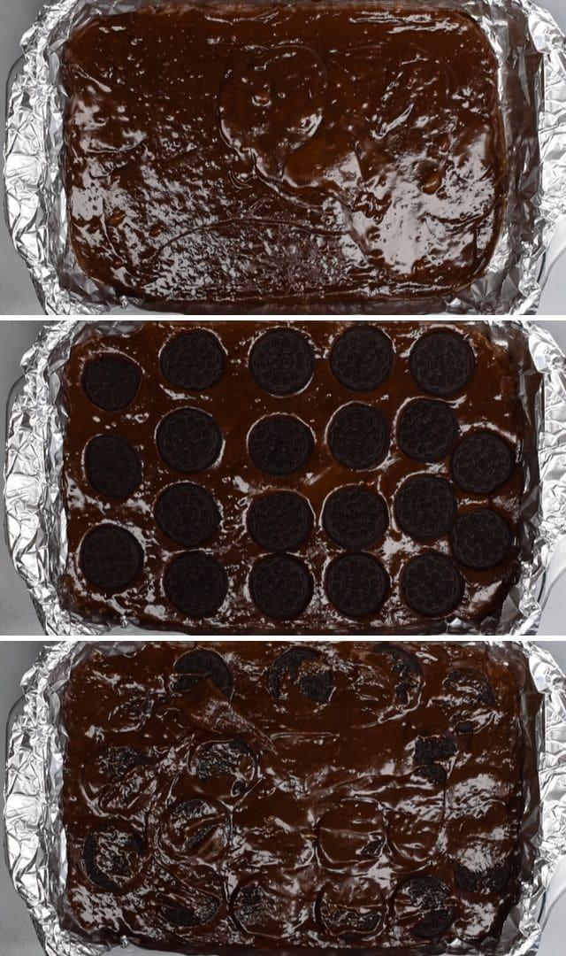 Oreo brownies process
