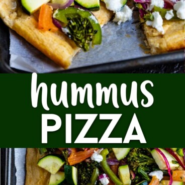 Hummus and veggies pizza
