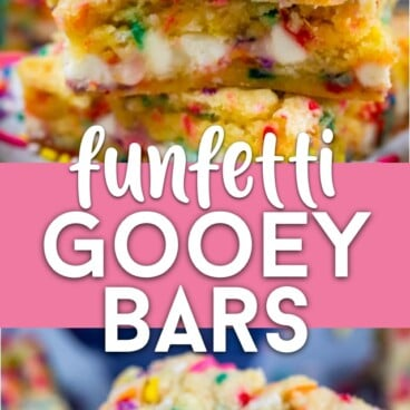 collage of funfetti gooey bar photos