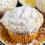 Homemade lemon crumb muffin