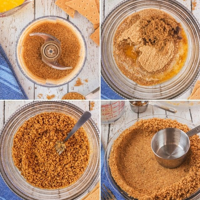 4 photo collage of process to make graham cracker crust