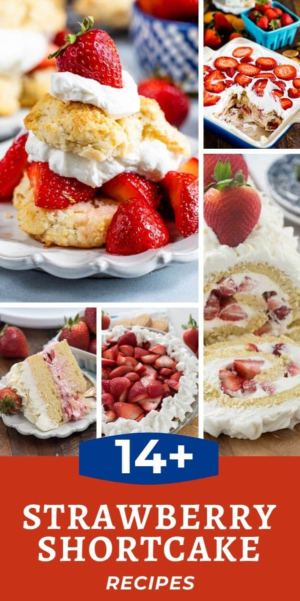 collage of 4 strawberry shortcake recipe photos