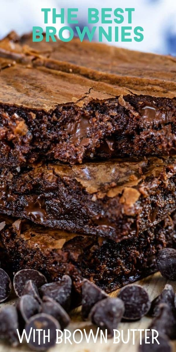 Stack of three brownies with text on top of photo and chocolate chips on bottom