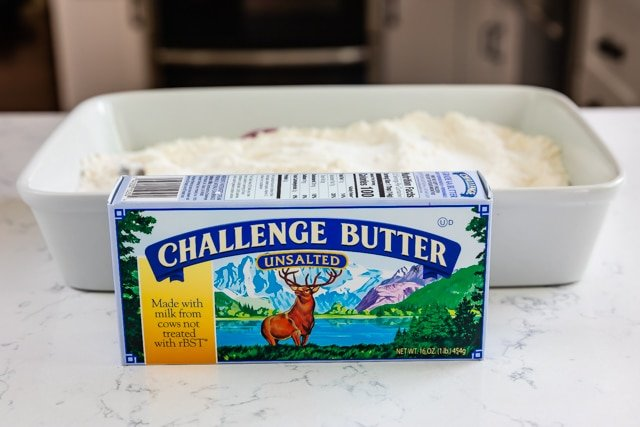 challenge butter box in front of white casserole dish