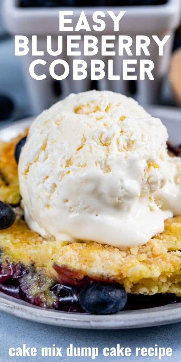 blueberry dump cake with ice cream on plate with words on photo
