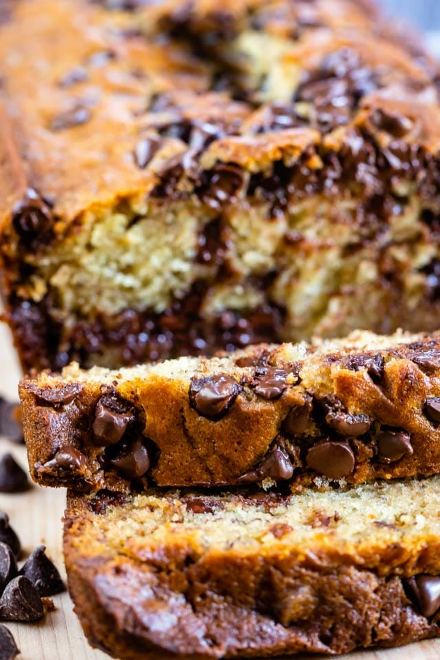close up of sliced chocolate chip banana bread