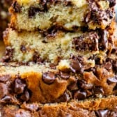 close up of stack of chocolate chip banana bread