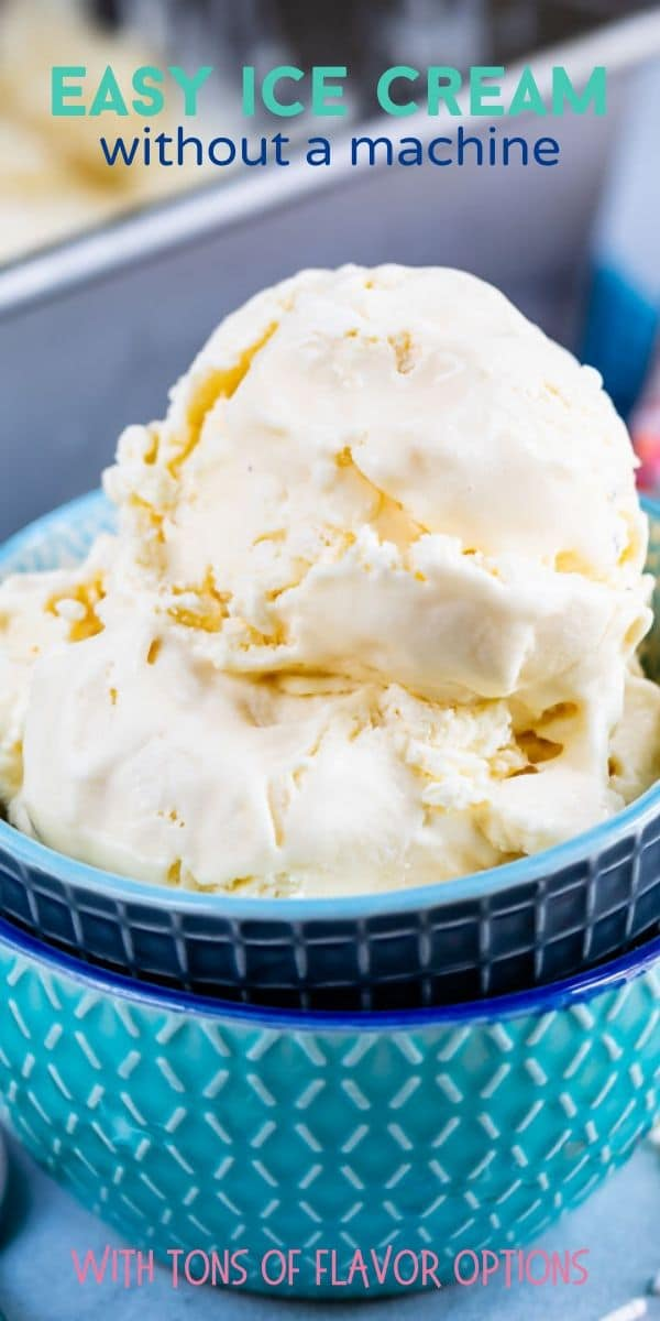Two scoops of easy ice cream in blue bowls with words on top
