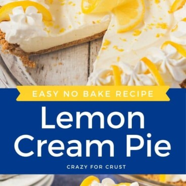 Photo collage of no bake lemon pie with recipe title in the middle on a blue colorblock