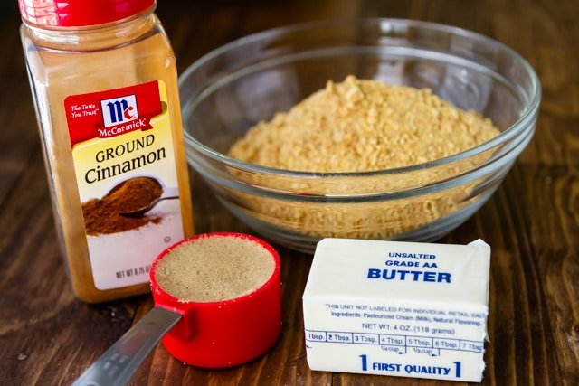 Photo of all four ingredients for graham cracker crust