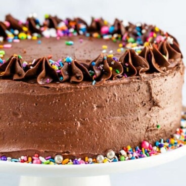 Chocolate cake decorated with chocolate frosting and rainbow sprinkles on white cake stand with words at top and bottom of photo