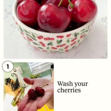Photos showing the three steps to pit a cherry with a straw