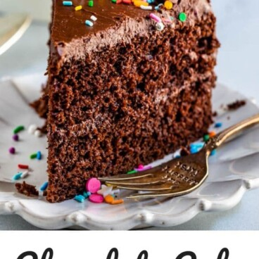 Slice of chocolate cake on white plate with words at the bottom of photo