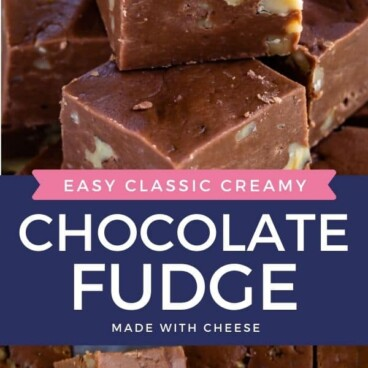 stack of fudge pieces with words on photo