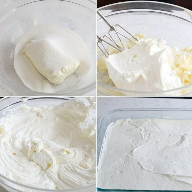 Four photo collage showing process of making no bake cheesecake filling