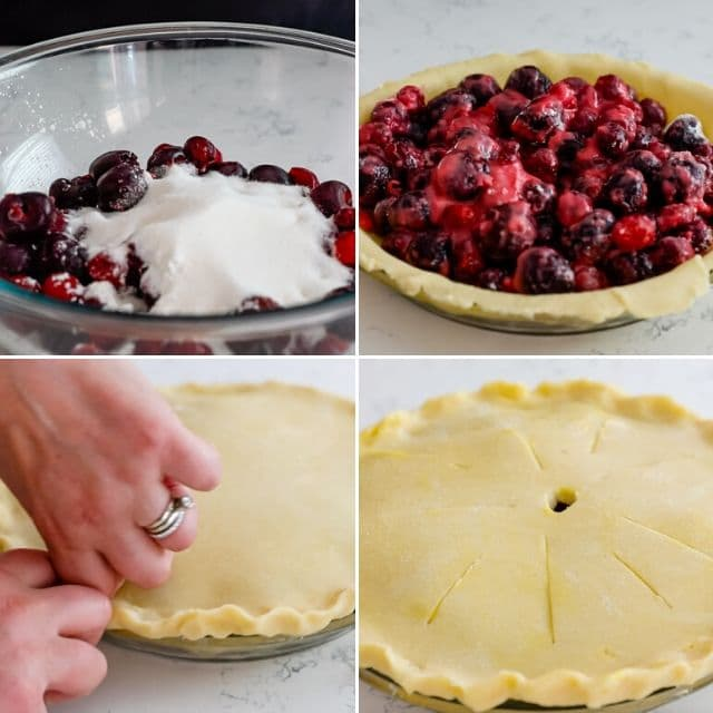 Photo collage of steps in creating cherry pie