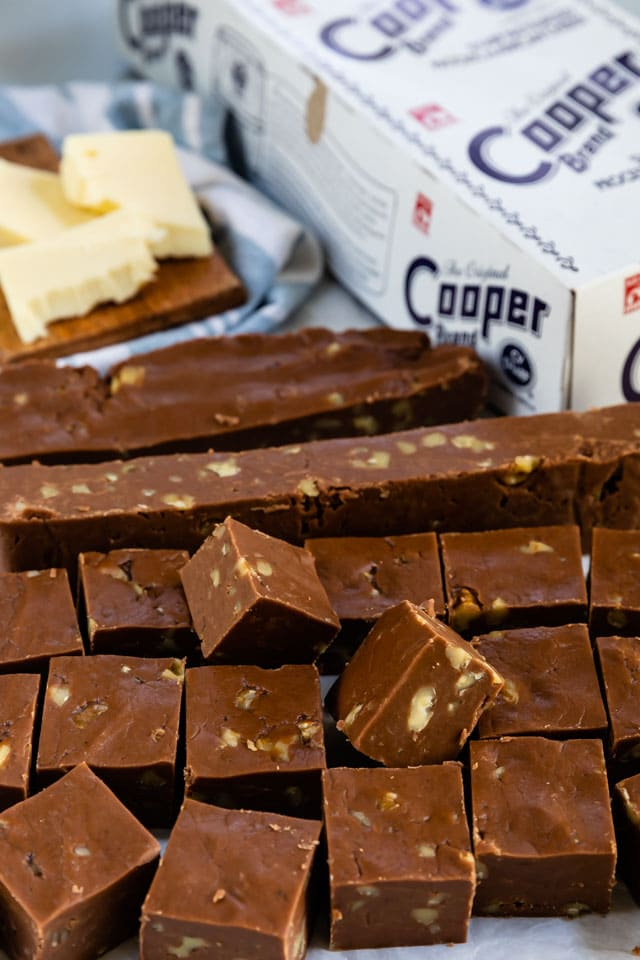 stack of fudge pieces with Cooper cheese box