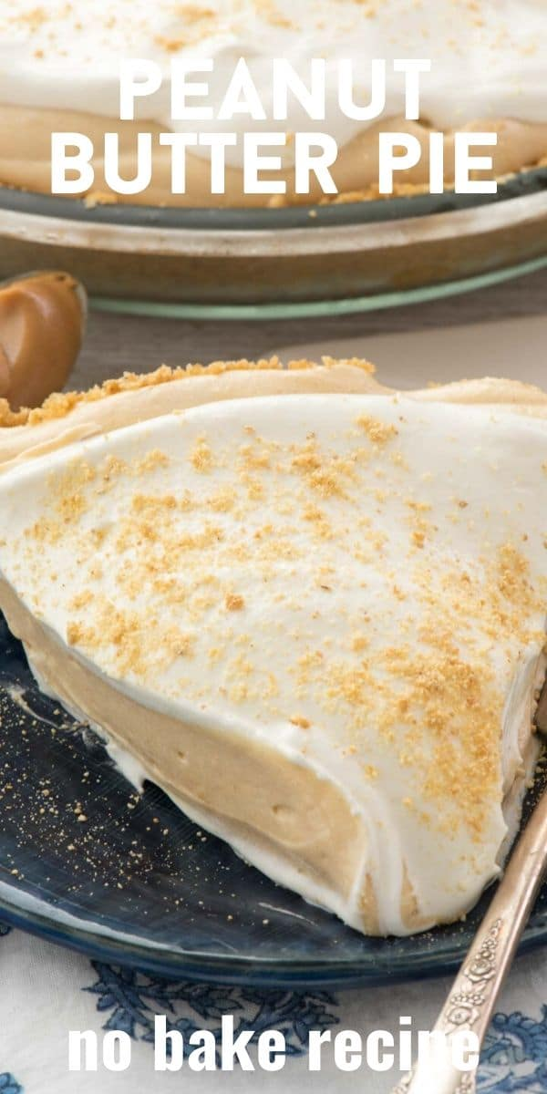 Slice of no bake peanut butter pie on navy blue plate with recipe title on top of image