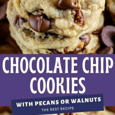 Photo collage of chocolate chip pecan cookies with purple color block and recipe title in middle of photos