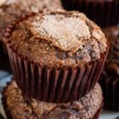 Close up of chocolate zucchini muffins
