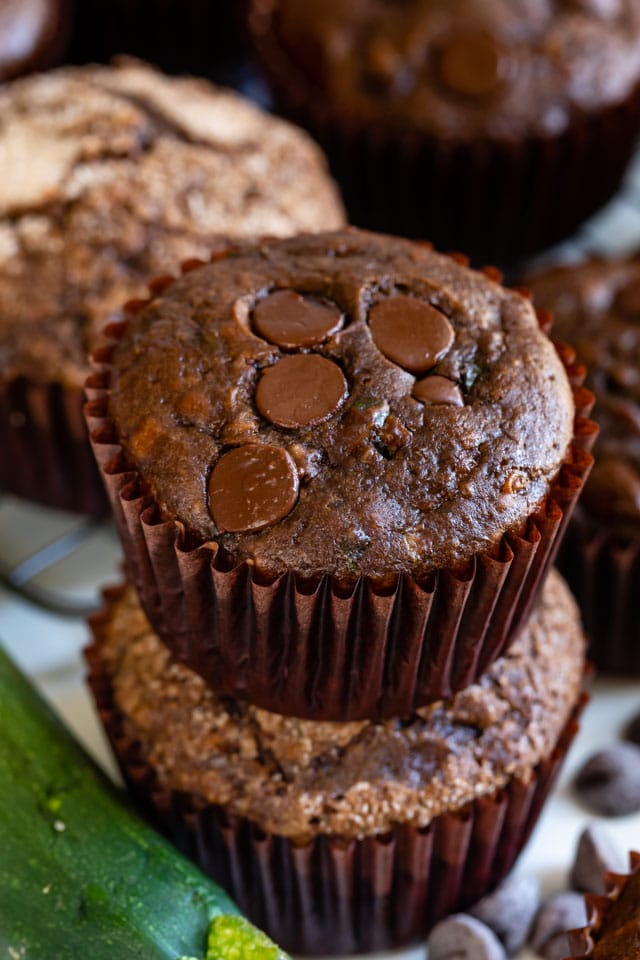 Overhead shot of chocolate zucchini muffins with chocolate chips