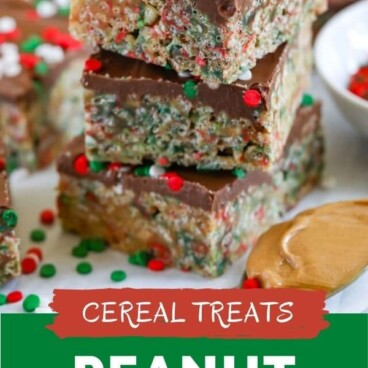 Three holiday no bake cereal bars stacked on top of eachother with recipe title on bottom of image