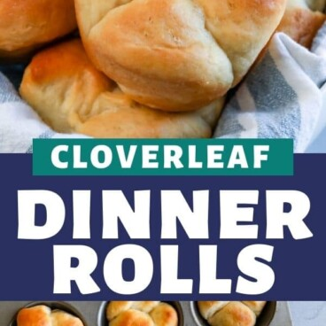 Photo collage of cloverleaf dinner rolls with color block and recipe title in middle