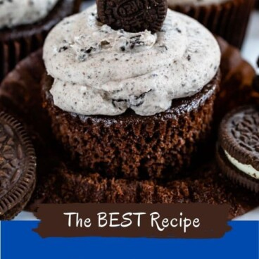 Oreo cupcakes with color block and recipe tite on bottom of image